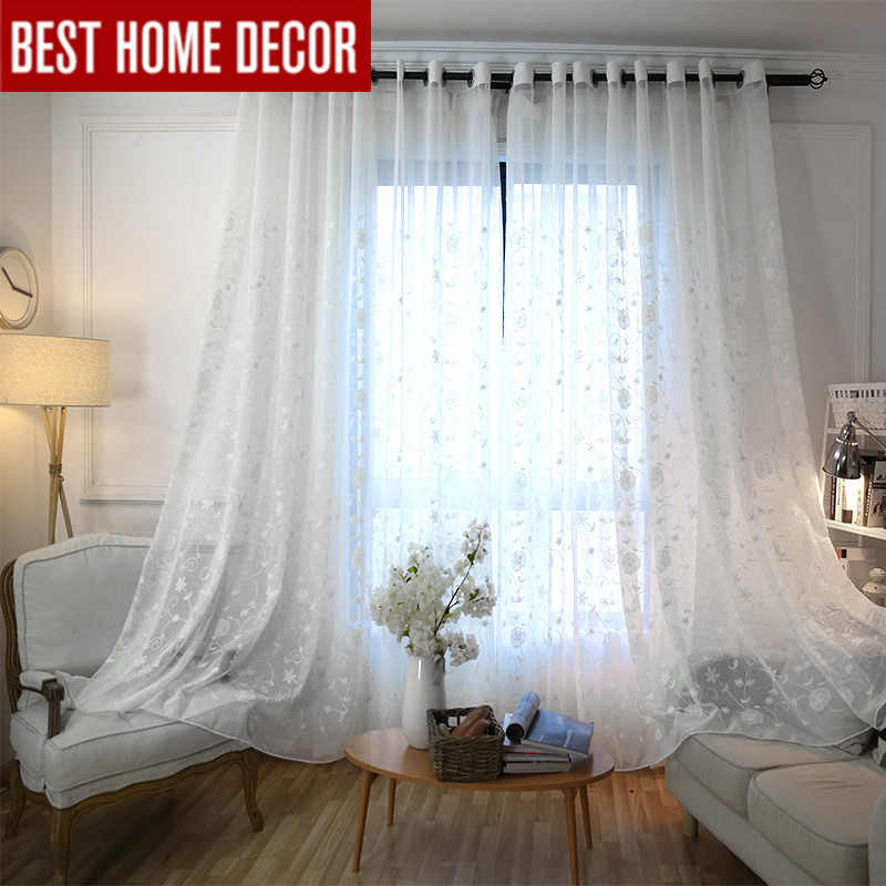BHD tailor-made linen embroidered sheer tulle curtain for living room bedroom white voile curtains for window chinese curtains