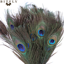 50pcs 25-30cm beautiful Peacock Tail Feathers wedding party Decorations diy Craft fans Clothes dance Dress Hats Bridal Costume