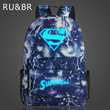 RU&BR Superman Noctilucent Fluorescence Backpack Printing Fashion Casual Bags For Boys Girls School Backpacks Korean Anime Bags