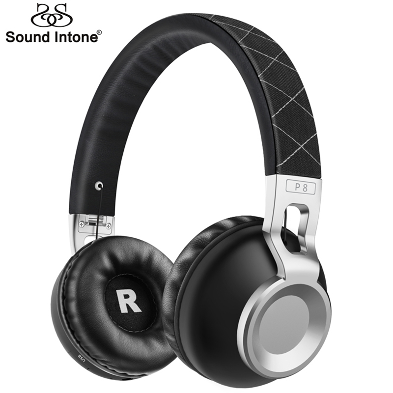 Sound Intone P8 Bass Metal Stretchable Headband Wireless Bluetooth Headphones With Mic Support TF Card Bluetooth 4.1 Headsets<br>