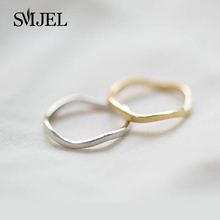 SMJEL 2017 Fashion Costume Jewelry Wave Curved Circle Rings For Women European Slim Wave Knucle Pinky Ring Party Gifts R061
