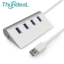 ThundeaL 4 Port 2.0&3.0 USB HUB 60cm Power Cable Multiple Silver USB Splitter Alloy Aluminium USB-HUB For Computer Media Charger