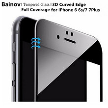 Bainov 3D Curved Edge Glossy Carbon Fiber Full Cover Tempered Glass For iPhone 6 6S Plus Screen Protector Film For iPhone 7