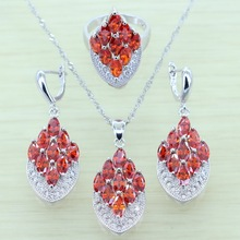 Reginababy Fancy Red lab Garnet Jewelry Set For Silver color Wedding AAA Mariques Zircon Rings/Pendant/Earrings/Necklace