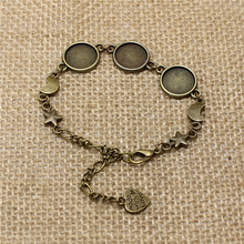3pcs/lot Vintage Brass Metal Zinc Alloy 12mm Round Bracelet Cabochon Setting Jewelry Blank Bracelet Findings Bracelet made T561(China)