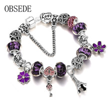 OBSEDE Fashion Flower Key Beads Bracelet Love Silver Color Chain Charms Bracelet for Women DIY pulseira Jewelry Christmas Gifts(China)