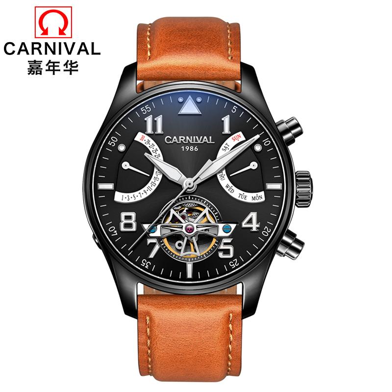 b7bd5d60161 CARNAVAL Moda Tourbillon Relógio Automático Mecânico Relógios de ...