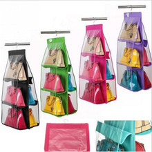 6 Pockets Non-woven Handbag Tote Purse Storage Organizer Bags Dust Hanging Closet Racks @(China)