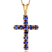18K Jesus sapphire cross pendant necklace Gold Natural Sapphire Necklaces Pendants For Man/Women Fine Jewelry Lucky(China)
