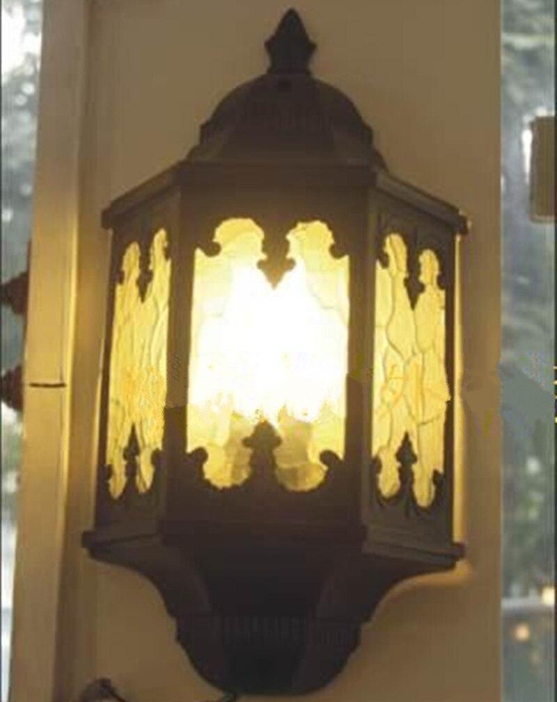 New classical style waterproof wall lamp corridor garden light aluminum + glass material 37 * 19.5cm outdoor lighting<br>