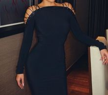 New Style Celebrity Fashion Dress HL Bandage Dress Long Sleeve Sexy Off thr Shoulder Knee Length Dress Party Evening Dress