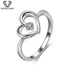 DOUBLE-R 100% Real Diamond Rings Women 925 Sterling Silver Heart Wedding Rings Natural Diamond Jewelry Female Valentine's Gift(China)