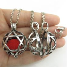 20107 Fragrance Jewish Star of David Hexagram Locket Pendant Perfume Diffuser Neckalce Women Jewelry Findings -- Free Shipping