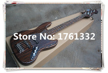 2015Chinese wholesale high quality zebrano 5 strings bass guitar with transparent pick guard  and can be made as your request