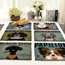 42X32CM Cute Cartoon Dog Printed Table Napkins Linen Dinner Napkins Dish Towel Tea Coffee Animal Dog Table Decor Western Mats