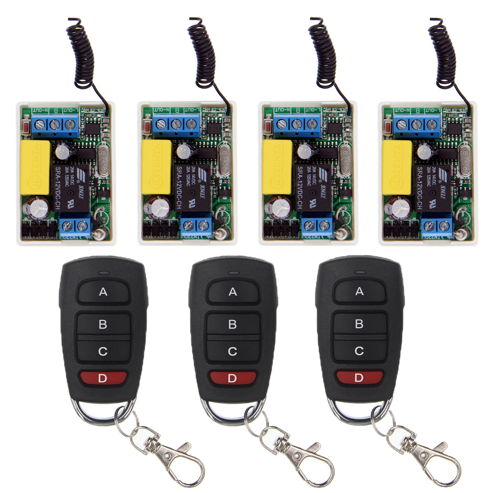 Mini Size  220V 1CH 1CH 10A Wireless Remote Control Switch Relay System ,(4 Receivers + 3 Transmitter),315 433.92 MHZ,Self-lock<br>