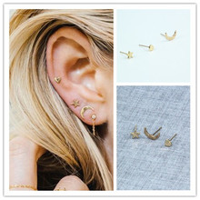 New Fashion accessories cute moon star heart design stud 1set=3pieces gift for women girl Wholesale e06