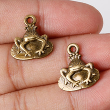 Fashion Sale 17*16mm 9pcs Zinc Alloy Charms Antique Bronze Plated Frog Prince Pendants Jewelry Findings Fit DIY