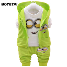 2017 Autumn Boys Clothing Sets Kids Coat jacket+T Shirt+Pants 3 Pcs Children Sport Suits Baby Girls Boys Minion Clothes set