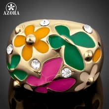 AZORA Gold Color Flower and Butterfly Oil Painting Pattern Ring TR0053(China)