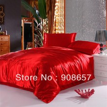 luxurious Smooth Shiny imitated silk satin fabric bed linen girls bedding red color comforter queen/full duvet covers sheets set