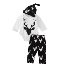 Price reduction Baby Boys Girls Outfit Clothes Long Sleeve Printing Romper+Long Pants+Hat 1Set toddler boy Girl clothing