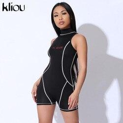Kliou женский сексуальный костюм пляжного типа без рукавов Тощий Фитнес водолазка на спине молния с принтом в стиле пэчворк Модный комбинезон