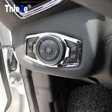 Car stainless steel headlight switch cover stickers For Ford Focus 3 MK3 2012 2013 Kuga Mondeo,auto accessories(China)