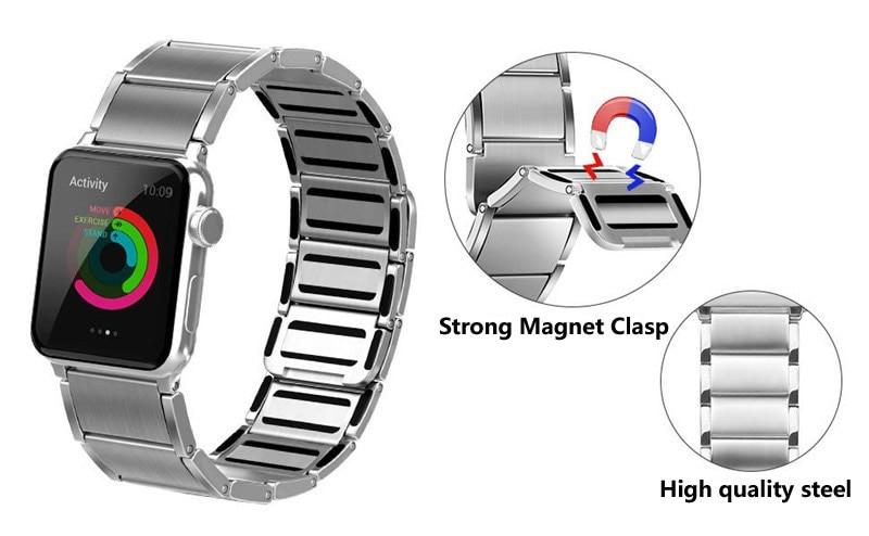 Luxury stainless steel watch band for apple series 1 2 3 watch strap 38-42 mm reloj hombre marca de lujo heren horlogewatcha bracelet (1)