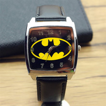 high quality women and men super hero dial square leather watch child lovely cartoon batmen design quartz watch boys Xmas gift