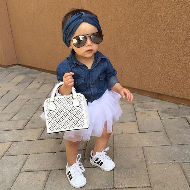 0-5a enfant nouveau enfants bébé filles infantile à manches longues denim tops shirt + tutu jupes dress + bandeau 3 pcs jeans tenues vêtements set 2