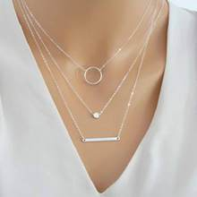 TOMTOSH 2017 New Fashion Wild Aperture Metal Rods Necklace Gold  Silver Layered Necklace For Women Charm Gift