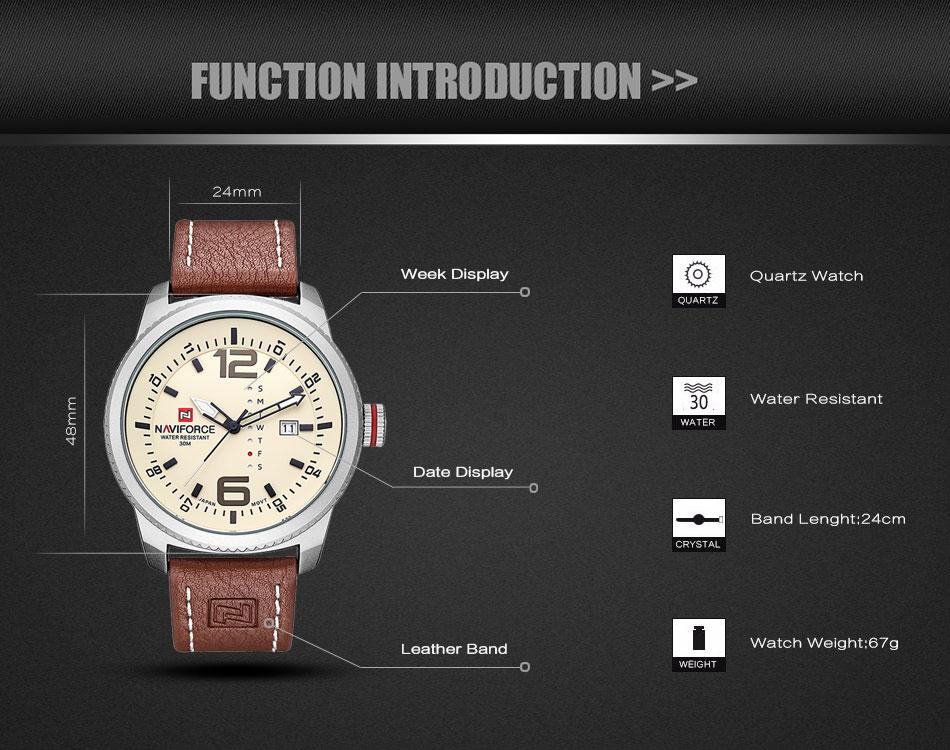 2017 De Luxe Marque NAVIFORCE Hommes Sport Militaire Montres Hommes de Quartz Date Horloge Homme En Cuir Décontractée Montre-Bracelet Relogio Masculino 5