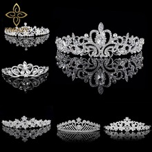 TREAZY Rhinestones Tiaras and Crowns Wedding Tiara Bridal Crown Crystal Wedding Tiaras for Brides Pageant Wedding Accessories(China)