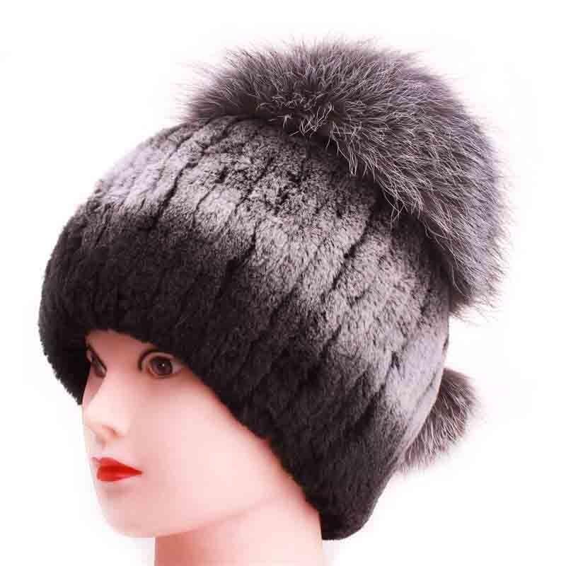 Womens Beanies Hats Real Fur Leather Top New For women Rabbit Fur Fox Circled Strip Hats Solid Russian Winter Caps Îäåæäà è àêñåññóàðû<br><br>