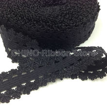 "3/4"" 10Y Black Frilly Edge Lace Ribbon Stretchy Picot Lace Trim Fold Over Elastic FOE for Baby Head wear Hair Accessories L24"