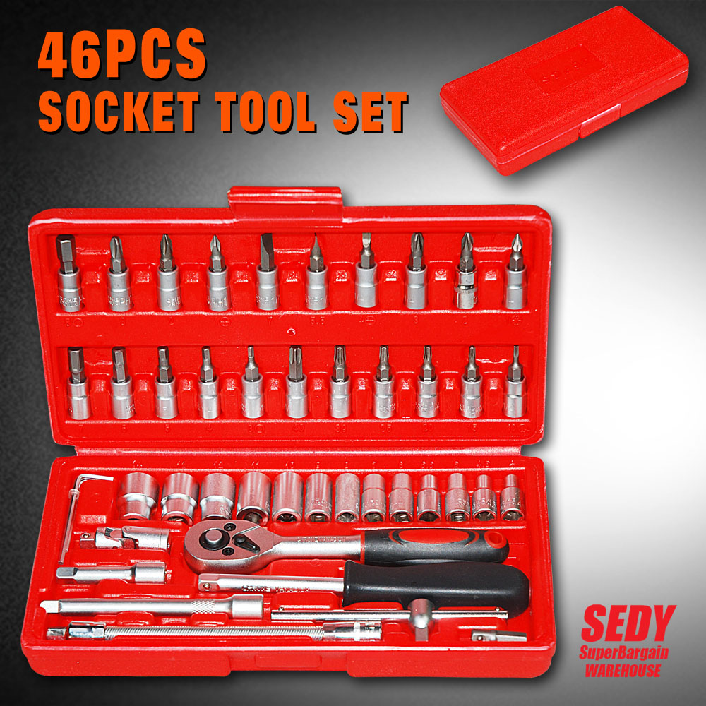 Promotion! 46pc Spanner Socket Set 1/4 Car Repair Tool Ratchet Wrench Set Cr-v hand tools Combination Bit Set Tool Kit<br><br>Aliexpress