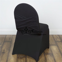 Black Color Spandex Chair Cover With Swag Back \ Banquet Wedding Chair Cover(China)
