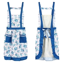 Korean Princess Aprons Double Widening Strap Rose Waterproof Aprons blue
