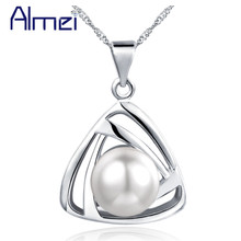 Almei Wedding Silver Color Necklace With Chain Women Triangel Pendant Female Jewelry Simulated Pearl Necklaces & Pendants N826(China)