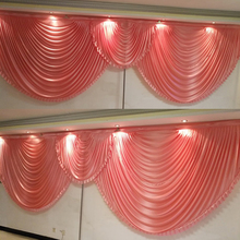 20ft long wedding backdrop swags coral swags party curtain drapery design stage background satin drape wall decoration