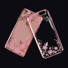2017 Luxury Secret Garden Flowers Rhinestone Cell Phone Cases For IPhone 6 6S Plus 5 5S SE 4 4S 7 7 Plus Girl Phone Case Cover(China)