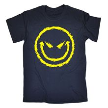 Evil Smiley Face T-SHIRT Cool Dj Attitude Rave Bad Demonic Funny Gift birthday Normal Short Sleeve Cotton T Shirts(China)