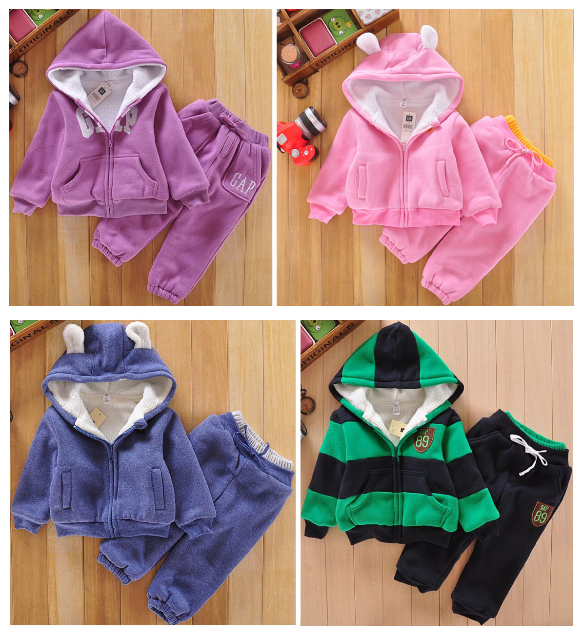 Child winter bear berber fleece thick plus velvet set quality child set male thermal clothing<br>