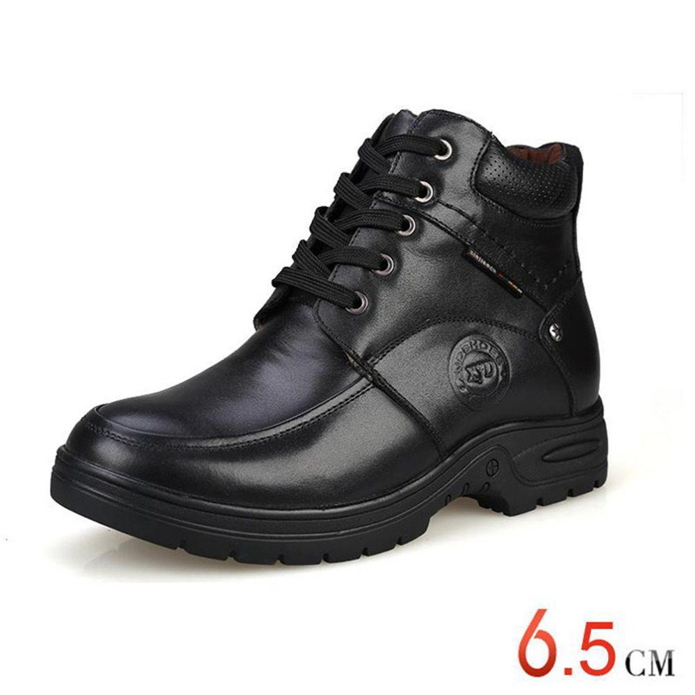Elevator Shoes Taller 2.56 Inches Winter Genuine Leather Men Boots, Fashion Warm Wool Ankle Boots, Men Snow boots Hot Sale<br><br>Aliexpress