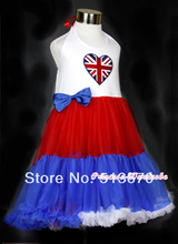 4TH July Girl Red White Blue British Flag Heart One Piece Party Petti Dress 1-8Y MAAS022