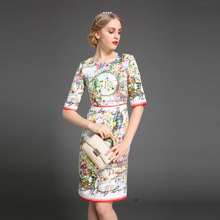Vestido 2015 New Fashion Autumn Women Slim Dress Designer Runway Brand Jacquard Floral Print Casual Dress