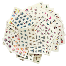 48Sheets Mixed Butterfly Cartoon Nail Decals Water Transfer Nail Tips Sticker Beauty Manicure Decoration Styling Tool LAA337-384