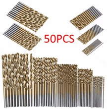50Pcs Titanium Coated Drill Bits HSS High Speed Steel Drill Bits Set Tool High Quality Power Tools 1/1.5/2/2.5/3mm(China)
