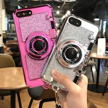 New Korea Luxury 3D Retro Camera Mirror Phone Case for Iphone 6 6s 7 7plus glitter soft tpu Case with Lanyard Back Cover Fundas